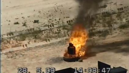 Botella de gas protegida con ExploStop sometida a fuego intenso