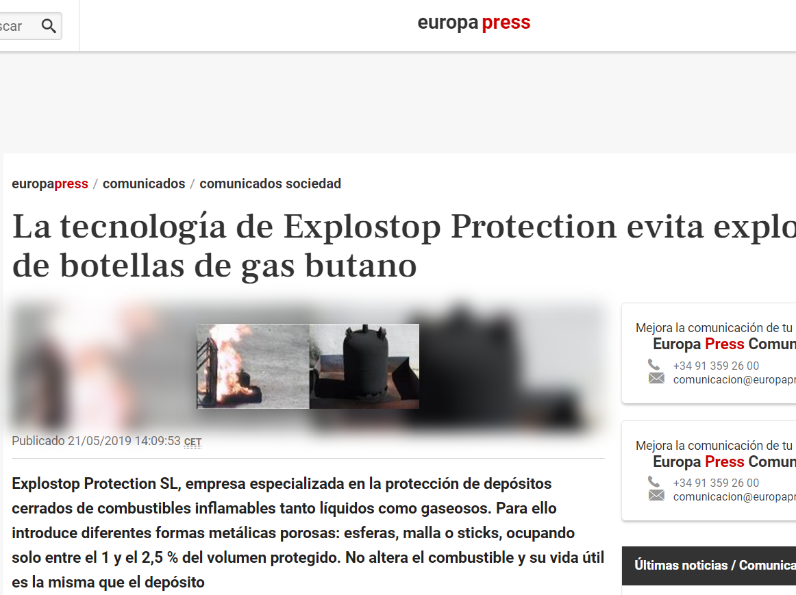 EUROPA PRESS: La tecnología de Explostop Protection evita explosiones de botellas de gas butano