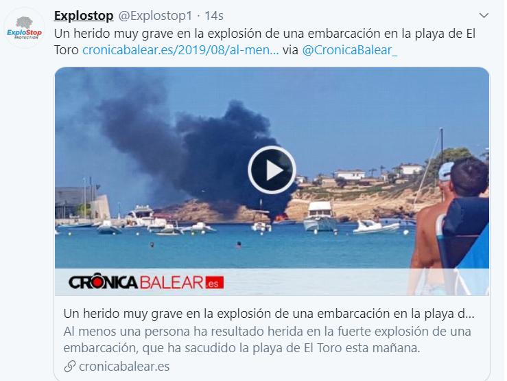 Un herido muy grave en la explosión de una embarcación en la playa de El Toro