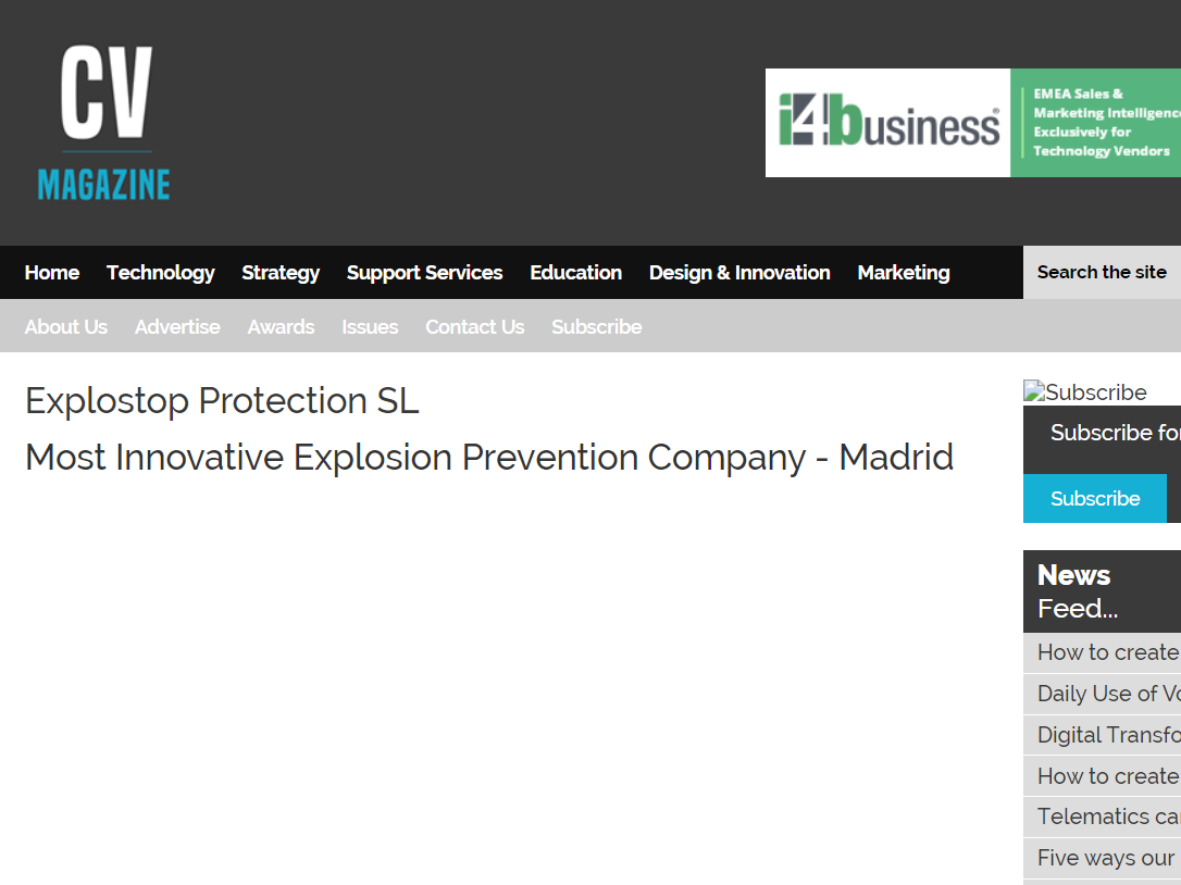 Explostop Protection ganadora en 2019 Global Security & Investigations Awards como «empresa de prevención de explosiones más innovadora»