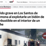 Herido grave en Los Santos de Maimona al explotarle un bidón de combustible en el interior de un coche